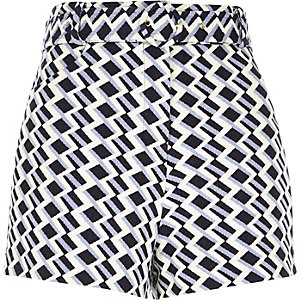 Blue zig zag belted high waisted shorts