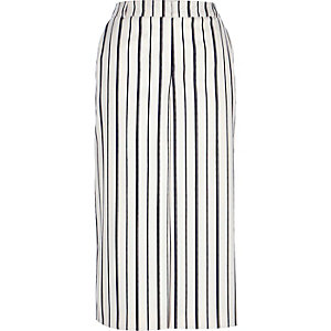 Navy smart striped culottes