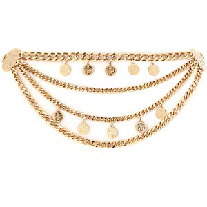 Gold tone coin trim festival waist belt