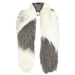 White and grey fluffy stole scarf