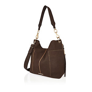 Dark brown slouchy handbag