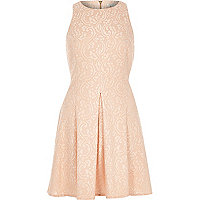 Light pink lace skater dress