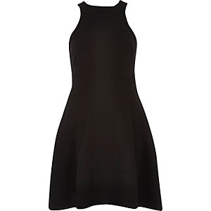 Black textured crepe skater dress