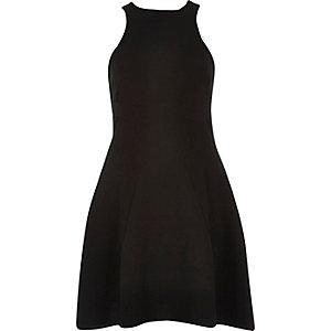 Black textured crepe skater dress