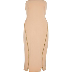 Nude zip hem bodycon bandeau dress
