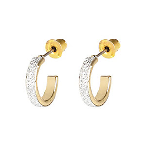 Gold tone glitter small hoop earrings