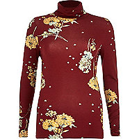 Red floral print roll neck top