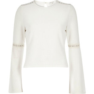 Cream jersey bell sleeve top