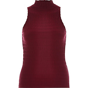 Raspberry red shirred high neck top