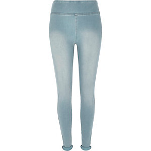 Light wash high waisted denim leggings