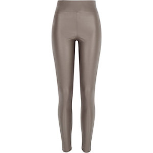 Grey coated leggings