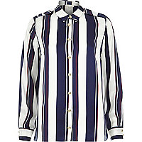 Navy stripe long sleeve shirt