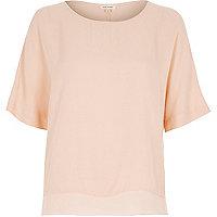 Pink lightweight chiffon hem t-shirt