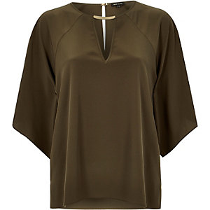 Khaki cut out t-shirt