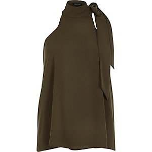 Khaki halter bow top