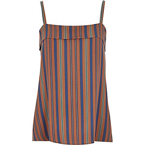 Brown simple stripe cami