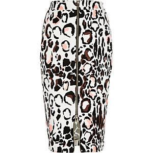 White animal print zip front pencil skirt
