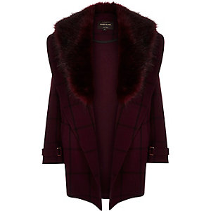 Red check faux-fur trim coat