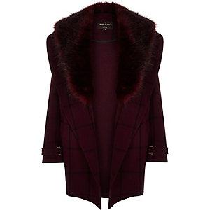 Red check fur trim coat