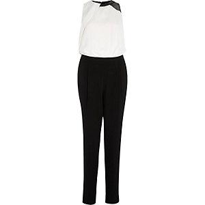 Black split sleeveless jumpsuit