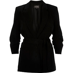 Black woven belted jacket