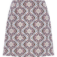 Cream baroque print pelmet skirt