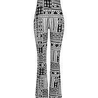 Black print high waisted flare leggings
