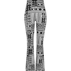 Black print high waisted flare leggings