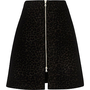Black print longer length A-line skirt