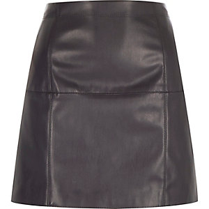 Dark grey leather-look mini skirt