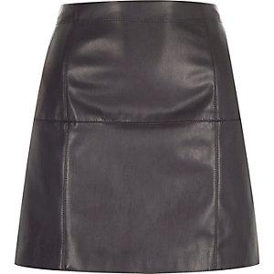 Dark grey leather-look mini skirt