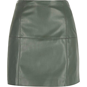 Light green leather-look mini skirt