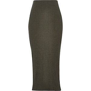 Khaki green ribbed maxi skirt