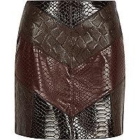 Red chevron snake print mini skirt