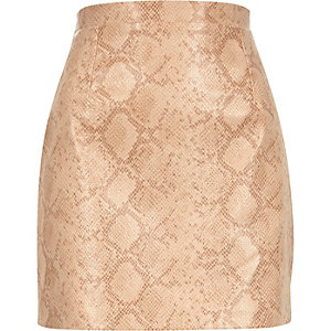 Beige reptile print leather-look skirt