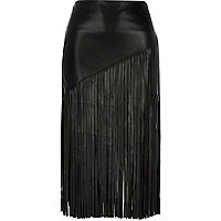 Black fringed pencil skirt