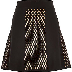 Black knitted eyelet print skirt