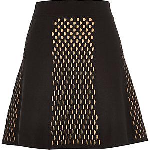 Black knitted eyelet print skirt