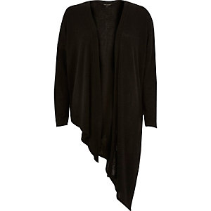 Black asymmetric slouchy cardigan