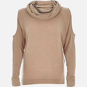Beige cowl neck cold shoulder jumper