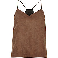 Brown faux suede cami