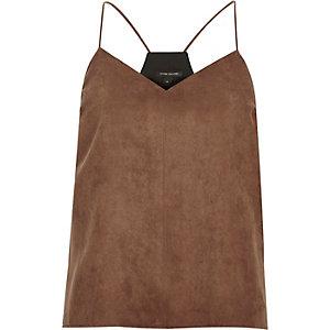 Brown faux suede cami