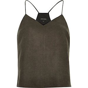 Dark brown faux suede cami