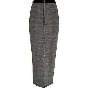 Black zip front maxi skirt