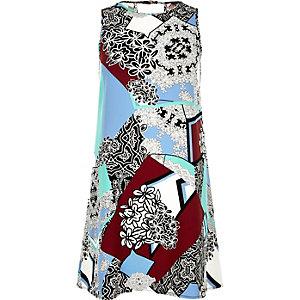Blue printed sleeveless swing dress