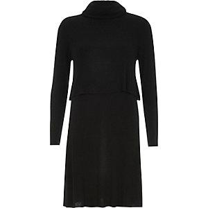 Black jersey 2-in-1 swing dress