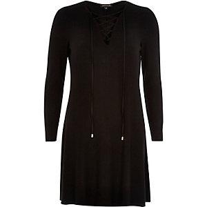 Black lattice front swing dress