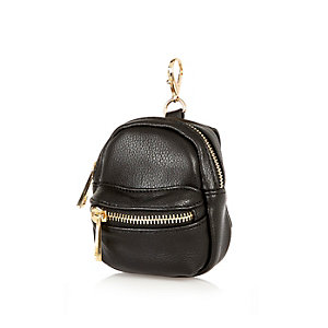 Black mini backpack keyring