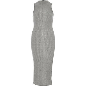Grey ribbed sleeveless bodycon dress