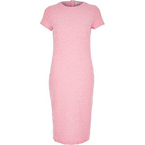 Pink jacquard bodycon midi dress